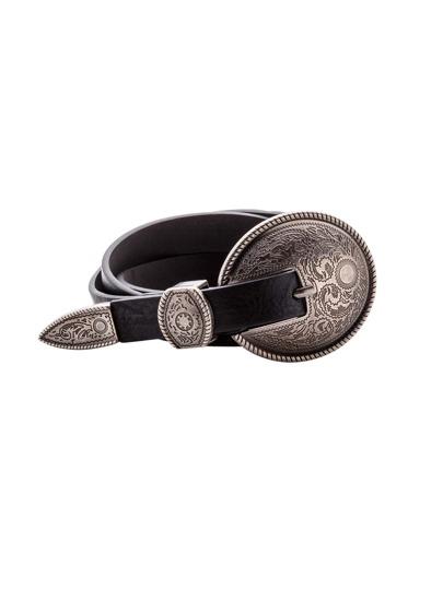 Black Vintage Carved Buckle Faux Leather Belt