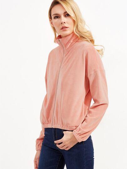 Pink Stand Collar Drop Shoulder Zip Up Velvet Sweatshirt