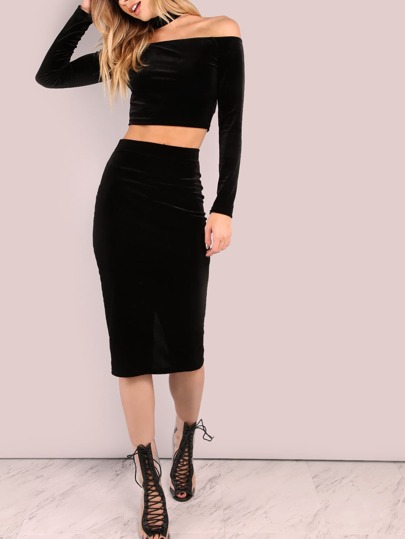 Velvet Slit Back Fitted Skirt BLACK