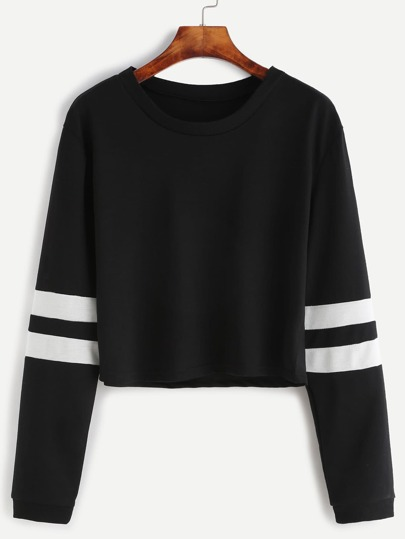 Varsity Striped Sleeve Crop Tee
