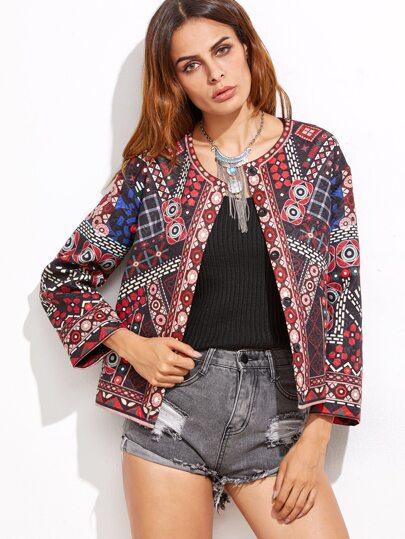 Модный жаккардовый пиджак с принтом
