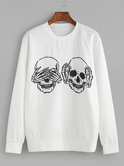 White Skull Print Sweatshirt