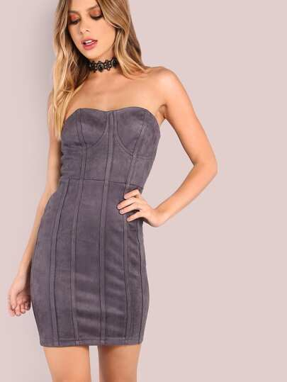 Strapless Suede Bustier Mini Bodycon Dress CHARCOAL