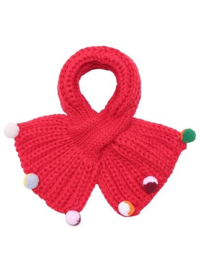 Red Ribbed Pom Pom Trim Knit Scarf