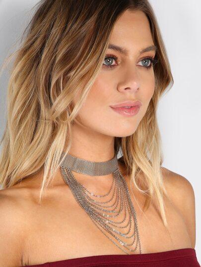 Metallic Layered Choker Necklace SILVER