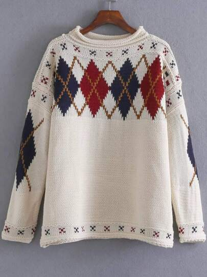 White Diamond Pattern Drop Shoulder Sweater
