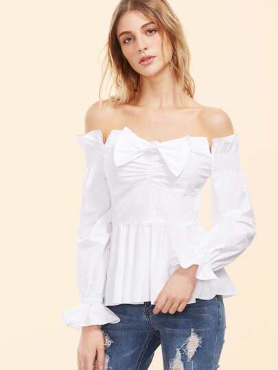 White Bow Front Off The Shoulder Peplum Top