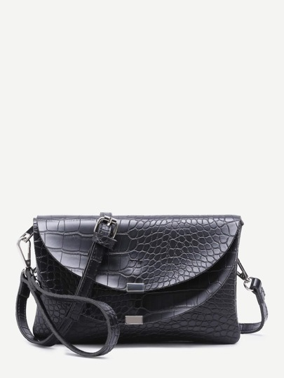 Black Croc Embossed Leather Flap Envelope Bag