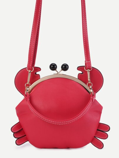 Cute Red PU Crab Bag With Convertible Strap