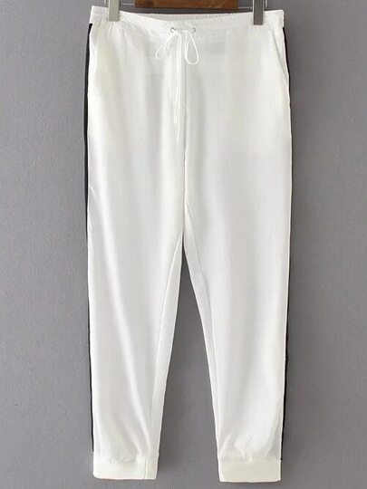 White Color Block Drawstring Waist Pants