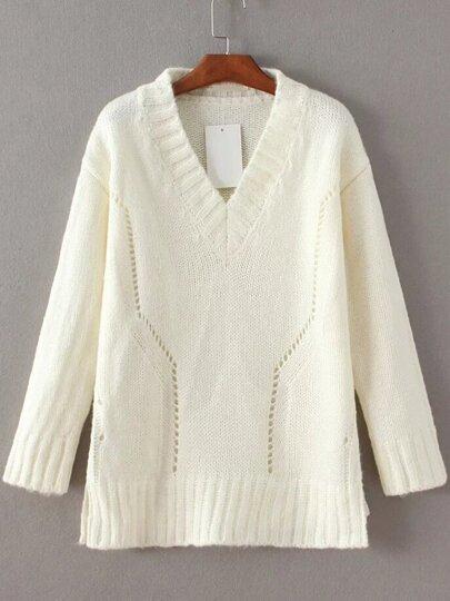 White V Neck Side Slit Sweater