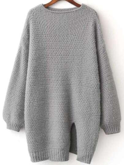 Grey Front Slit Lantern Sleeve Sweater