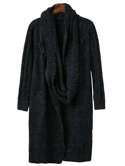 Black Pocket Long Sweater Coat With Scarf