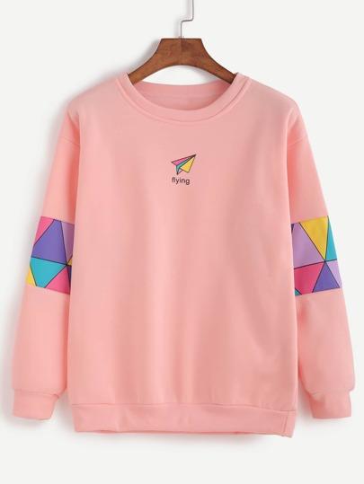 Pink Patchwork Print Sweatshirt