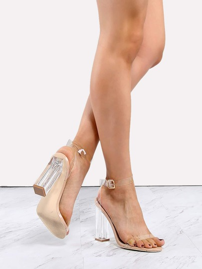 Clear Strap Perspex Heels TRANSPARENT