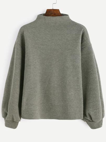 Army Green Ribbed Lantern Sleeve Sweater