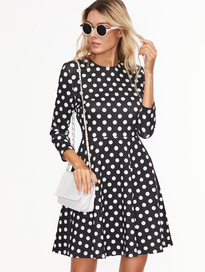 Black Polka Dot Print Skater Dress