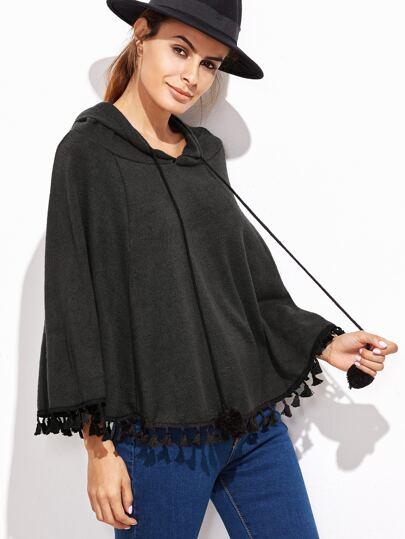 Black Hooded Fringe Hem Poncho Sweater