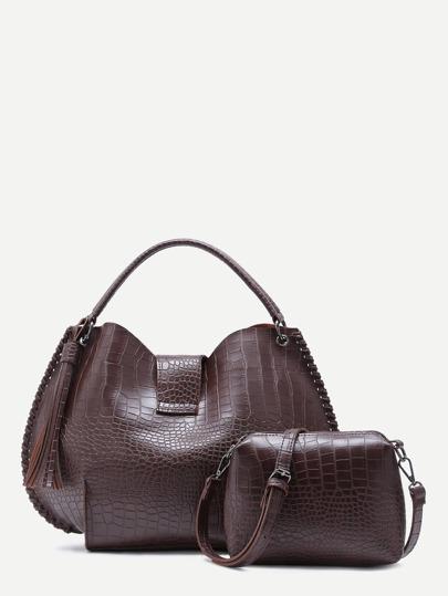 Brown Croc Embossed PU Tassel Tote Bag With Crossbody