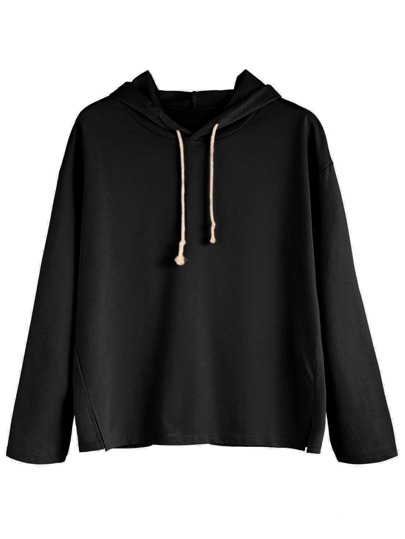 Black Side Slit Hooded Sweatshirt