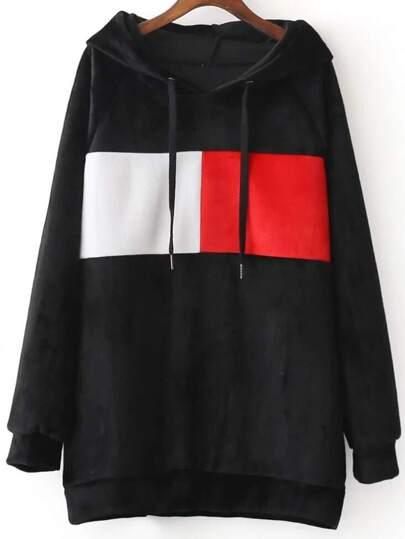 Black Color Block Raglan Sleeve Hooded Sweatshirt
