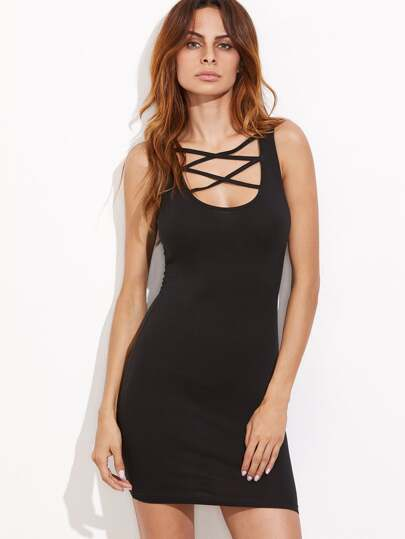 Black Crisscross Scoop Neck Bodycon Tank Dress