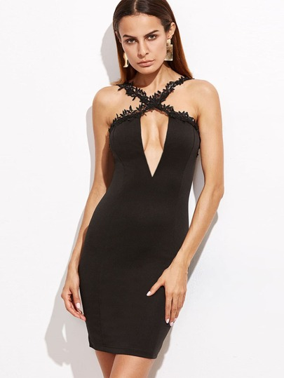 Black Crisscross Crochet Strap Deep V Neck Bodycon Dress