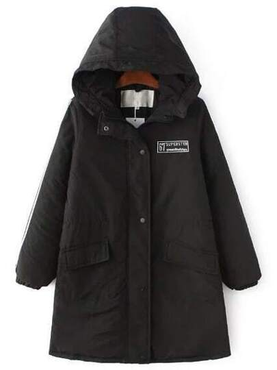 Black Letter Embroidery Hooded Long Padded Coat