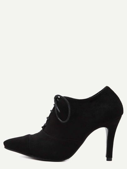 Black Cap Toe Lace Up Suede Heels