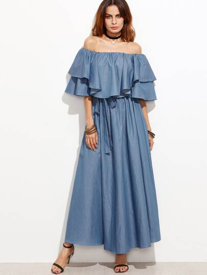 Blue Off The Shoulder Ruffle Chambray Dress