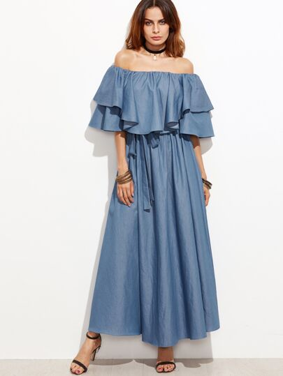 Flounce Layered Neckline Chambray Dress