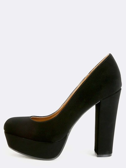 Platform Chunky Heel Pumps BLACK