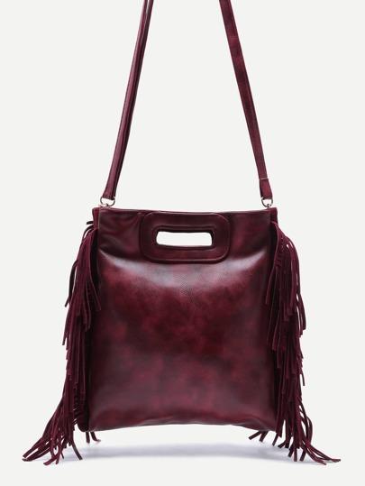 Maroon Faux Leather Fringe Tassel Crossbody Bag