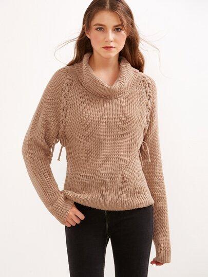 Khaki Turtleneck Lace Up Raglan Sleeve Sweater