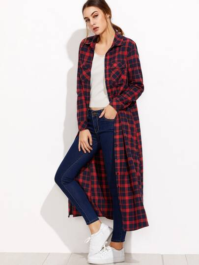 Navy And Red Plaid Pocket Front Maxi Blouse
