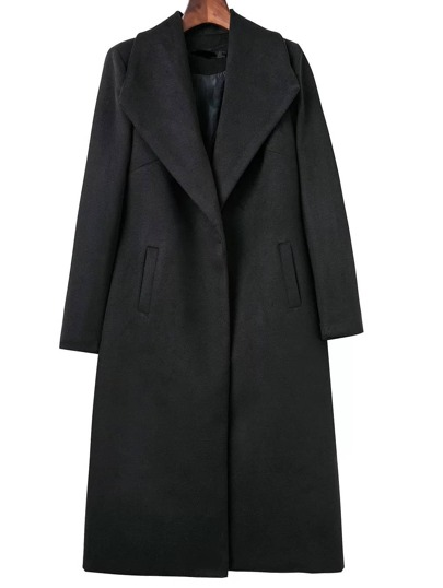 Black Shawl Collar Longline Coat