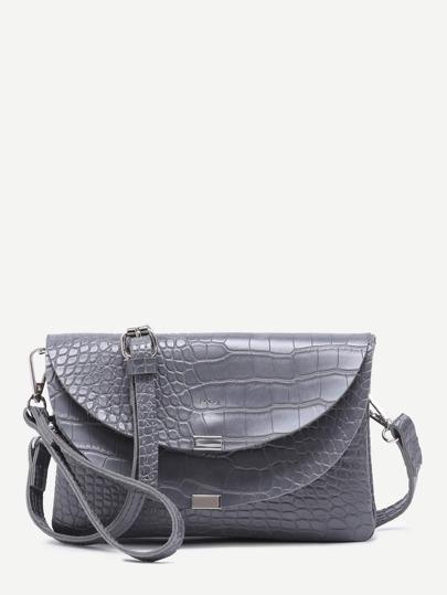 Grey Croc Embossed Leather Flap Envelope Bag