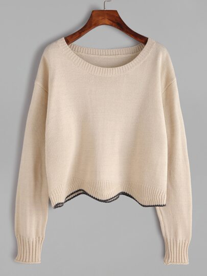 Apricot Drop Shoulder Contrast Scoop Hem Sweater