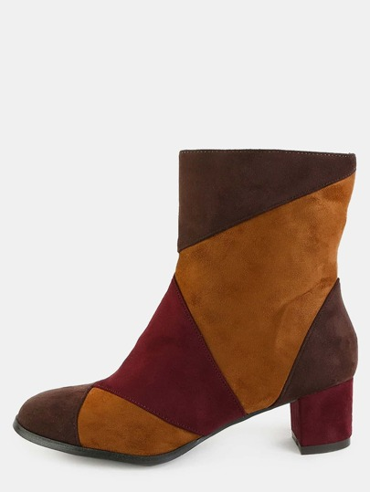 Multi Patch Suede Booties TAN