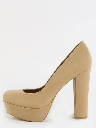 Classic Chunky Heel Pumps NATURAL