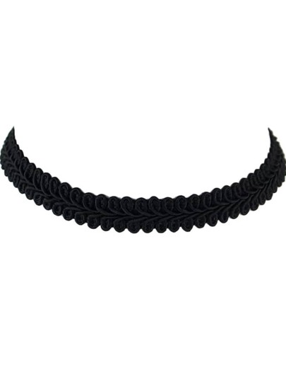 Black New Braided Rope Flower Pattern Wide Choker Necklace