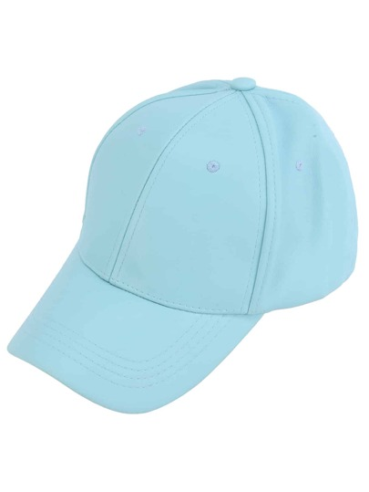 Sky Blue Faux Leather Hip Hop Baseball Cap