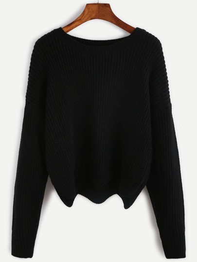 Black Drop Shoulder Seam Wave Hem Sweater