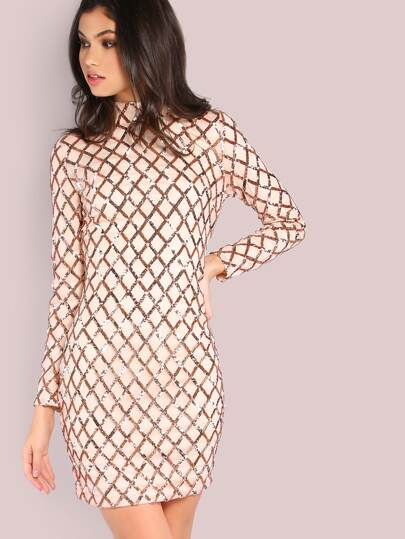 Mock Neck Sleeved Sequin Dress BLUSH