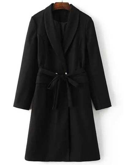 Black Shawl Collar Double Breasted Self Tie Long Coat