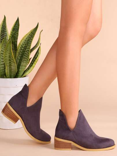 Purple Faux Suede Cork Heel Ankle Booties