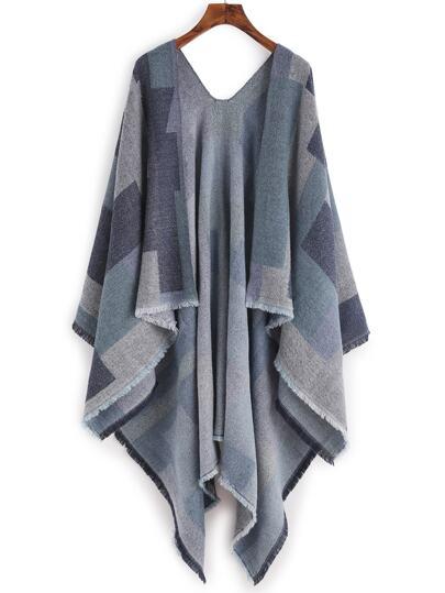 Сине-контрастный шарф шалью с бахромой