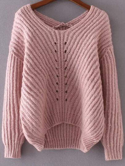 Pink V Neck High Low Sweater