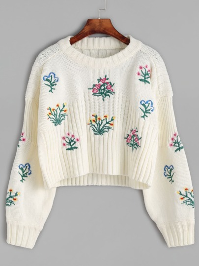 Beige Flower Embroidered Crop Sweater