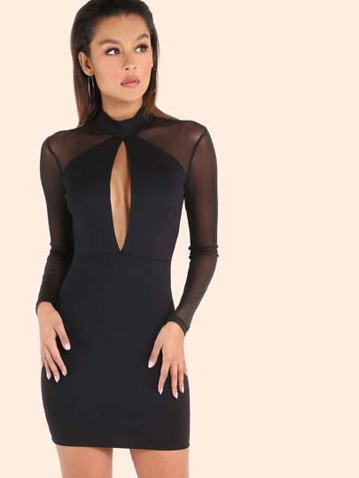 Turtleneck Peakaboo Mesh Sleeved Bodycon Dress BLACK